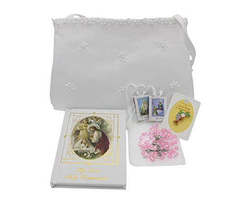 Girls First Communion Gift Set Purse, Missal, Rosary and Pouch, Scapular, Chalice Pin, Gift Box ()