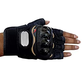 AutoFurnish Bike Racing Half-Finger Motorcycle Riding Gloves (L, Black)