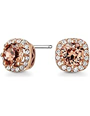 Mestige Women Glass Rose Gold Halle Earrings with Swarovski Crystals