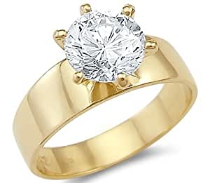 Solid 14k Yellow Gold Solitaire Engagement CZ Cubic