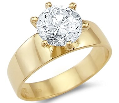 Amazon Solid 14k Yellow Gold Solitaire Engagement CZ Cubic