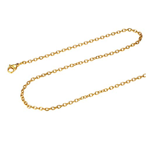 FOCALOOK Stainless Steel Rolo Chain 2MM Solid 18K Gold Plated Round Cable Chain ()