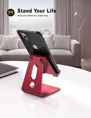 Adjustable Cell Phone Stand, Lamicall Phone Stand : [Update Version] Cradle, Dock, Holder Compatible with iPhone Xs XR 8 X 7 6 6s Plus SE 5 5s 5c Charging, Accessories Desk, Android Smartphone – Red 41KSdTMOlrL