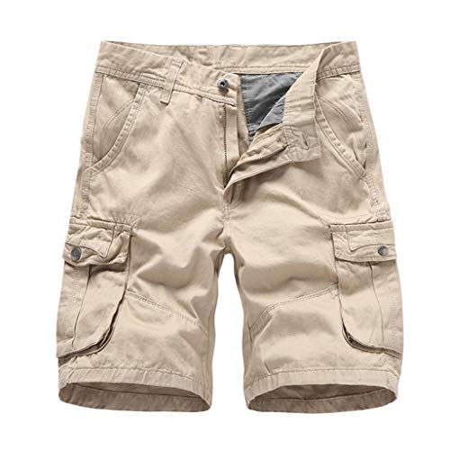 Men's Cargo Shorts Fashion Summer Casual Loose Baggy Elastic Waist Solid Slim Fit Plain Short Pants with Pockets Khaki
