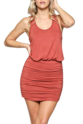 LaClef Women's Mini Ruched Tank Shift Dress (Brick, M)