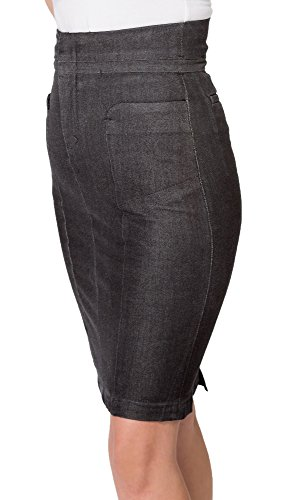 Denim Zip Fly Skirt - Black High Waisted Denim Skirt | Knee Length Back Split Zip Fly Pencil Skirt (30)