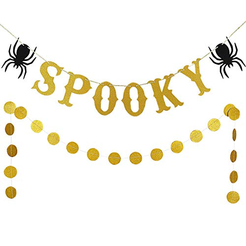 Gold Glittery Spooky Halloween Theme Banner and Gold Glittery Circle Dots Garland(25pcs Circle Dots) Halloween Party Home Decoration Supplies - Hanging -