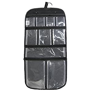 Household Essentials Hanging Travel Bag for Toiletries, Cosmetics or Jewelry, Clear Compartments, Black