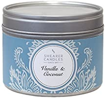 Shearer Candles Vanilla and Coconut Small Scented Silver Tin Candle - White by Shearer Candles