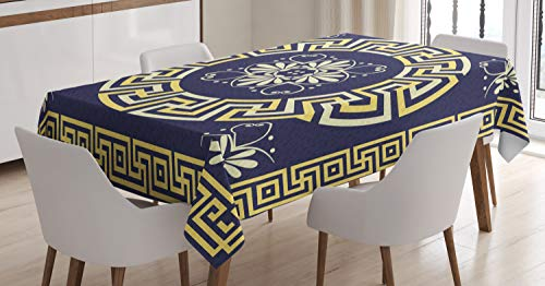 Ambesonne Greek Key Tablecloth, Meander with Spring Inspired Floral Detail Rich and Retro Entangled Maze, Dining Room Kitchen Rectangular Table Cover, 52 W X 70 L Inches, Blue Yellow