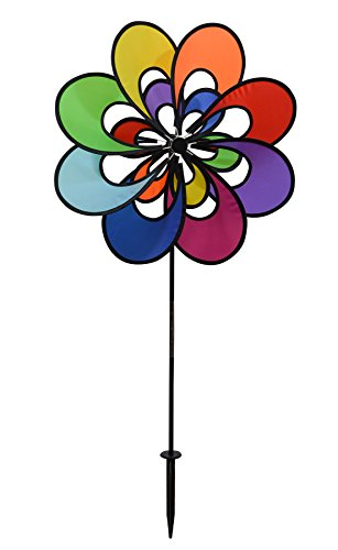 (In the Breeze Spectrum Double Windee Wheelz - Ground Stake Included - Colorful Flower Spinner for your Yard and Garden)
