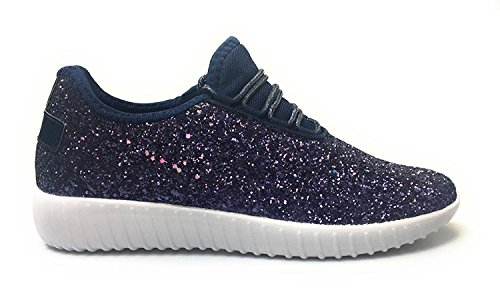 Forever Fashion REMY 18 Navy Women's Link Sneakers Glitter CxqCrS1Tw