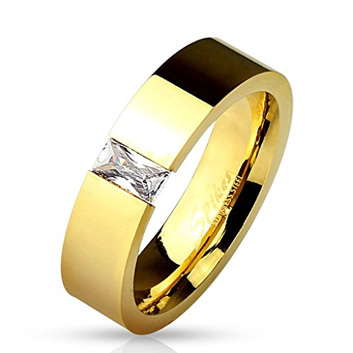 Engraved Tension Set Ring - Square CZ Tension Set Gold IP Band Ring
