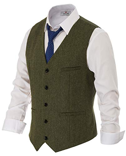 Men's Vintage Single Breasted 5 Button Tweed Vest Wool Waistcoat L Army Green