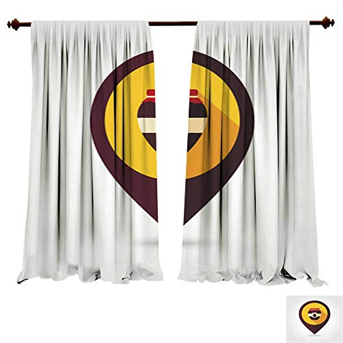 DragonBuildingMaterials Blackout Curtain Panels Plum jam jar Flat Mapping pin icon Insulated Solid Window Drapes - Xtra Large Flat Panel