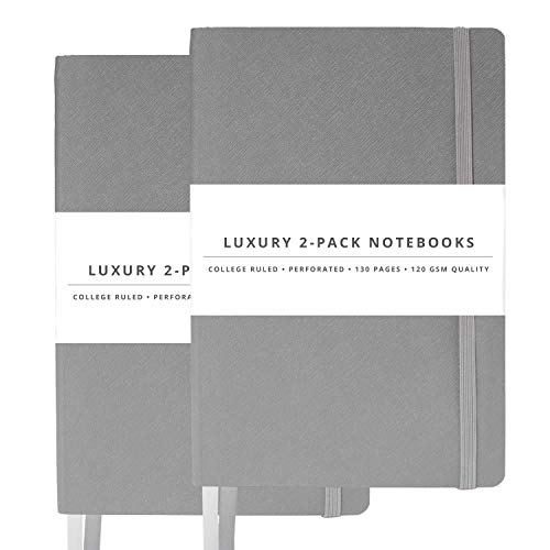 2 Pack Luxury Notebook Journal - 130 Perforated Pages - Thick Paper (120 gsm) - 180° Lay Flat Design - 2 Bookmarks - Elastic Closure - Back Pocket, Set of 2, Steel Grey, Softcover (College ruled) (Japanese Business Card)