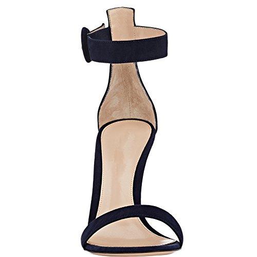 Cheville Aiguille 10cm De Chaussures Bride Sandales À Navy Ouvert Femme Edefs Bout Talon w1xzda