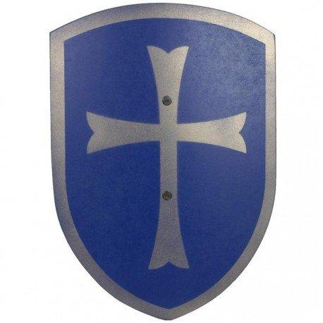 Vah - Bouclier en bois de Chevalier Enfant croix 37cm poignée cuir Déguisement enfants