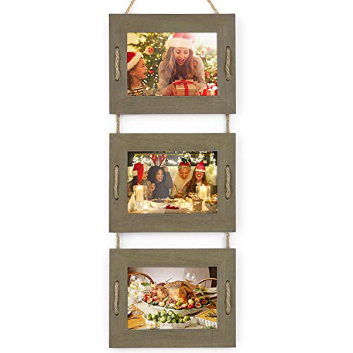 DLQuarts Collage Hanging Picture Photo Frame 5 x 7, 3-Frame Set On Hanging Rope, Rustic Solid Wood Photo Frame Weathered Green (3 Picture Frame 5x7)