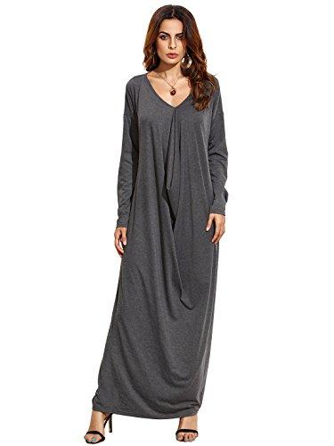 Verdusa Women's Boho Long Sleeve Draped Caftan Casual Loose Long Maxi Dress Heather Grey M - Long Sleeve Caftan Dress