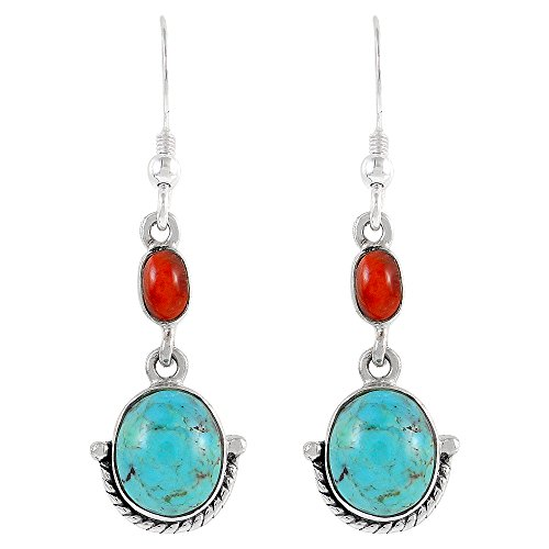 Turquoise Earrings 925 Sterling Silver & Genuine Turquoise (Select Color) (Turquoise/Red)