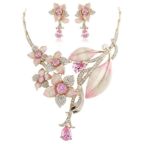 Ever Faith - Zircon Cristal Autrichien Fleur Parures Bijoux Rose-Plaqué Or N03722-4