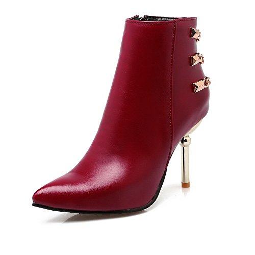 AmoonyFashion Womens Zipper High-Heels PU Solid Low-Top Boots Claret N5wJm