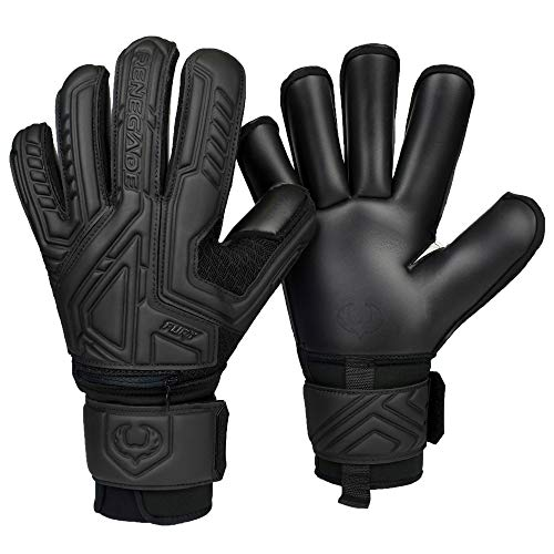 Renegade GK Fury Nightfall Roll Cut Level 4 Goalkeeper Gloves Youth & Adult with Fingersaves - Youth Goalie Gloves Soccer - Goalkeeper Gloves Size 7 - Black Goalie Gloves