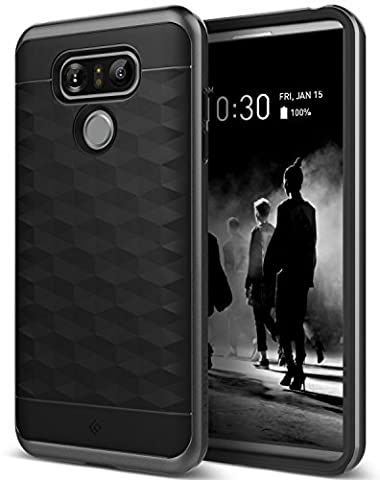 LG G6 Case, Caseology [Parallax Series] Slim Dual Layer Protective Textured Geometric Cover Corner Cushion Design [Black] for LG G6 (Military Cell Phone Covers)