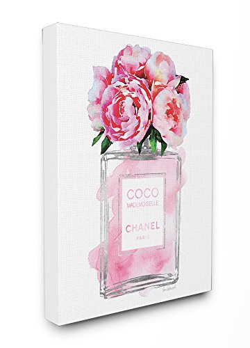 Stupell Industries Glam Perfume Bottle V2 Flower Silver Pink Peony Stretched Canvas Wall Art, Proudly Made in USA Pink Perfume Bottle