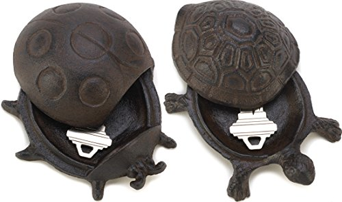 Key Stone Garden (Gifts & Decor Garden Decoration Turtle and Ladybug Cast Iron Spare Key Hider Stone Keyholder Holder Set)