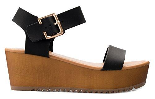 OLIVIA K Women's Platform Buckle Sandal - Open Peep Toe Fashion Chunky Ankle Strap Shoe,Black Pu,9 B(M) US by OLIVIA K (Image #1)