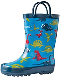 Kids Rubber Rain Boots With Easy-On Handles, Blue Dino,...