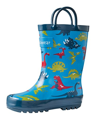 OAKI Kids Rubber Rain Boots with Easy-On Handles, Blue Dino, 8T US Toddler
