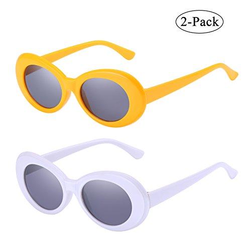 Retro Oval Mod Thick Frame Clout Goggles Kurt Cobain Sunglasses - Sunglasses Kurt White Cobain
