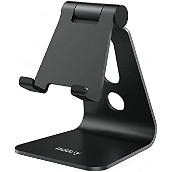 Nulaxy Adjustable Phone Stand, Multi-Angle Cell Phone Holder, Cradle, Dock, Stand for iPhone X 8 7 6 6s Plus 5 5s 5c , all Android Smartphone, Universal Phone Stand - Black