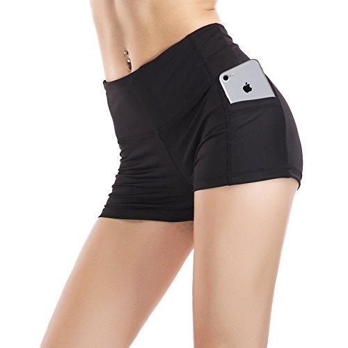 Stretch Tights Mesh (Imido Women's Yoga Capri legging Mesh Tights Sport Workout Running Pants with Side Pocket (S, Short Pants))