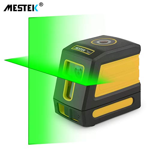 Laser Level Green Line Level Self Leveling MESTEK 98ft Alignment Tools Cross Horizontal Vertical Lines Full Soft Rubber Covered Soft Carrying Pouch Batteries Magnetic Mount Base for Wall House Ceiling