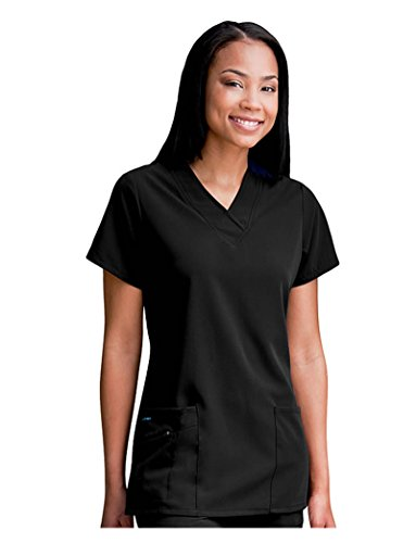 Jockey Women's Scrubs V-Neck Crossover Scrub Top, Black, M - Pocket Crossover Scrub Top