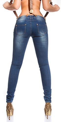Skinny Jeans + Hosenträger abnehmbar by In-Stylefashion blau