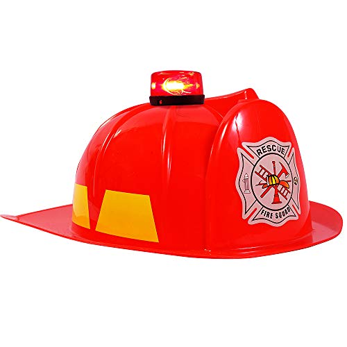 (Dress Up Hats for Kids - Role Play Police and Fireman Hat with Light (Red Fireman Hat) )