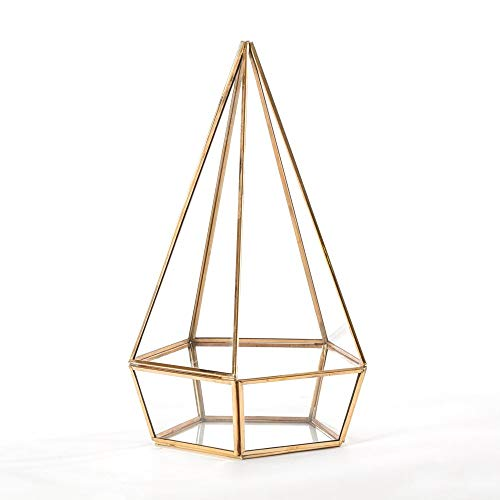 Madeleine Home Nantes Brass and Clear Glass Hurricane Lantern   Decorative Antique Geometric Terrarium Candle Holder for Home Decor, Table Top Centerpiece, Mantle, Porch, Patio and More   Indoor