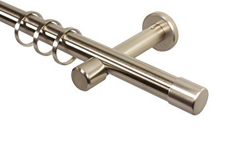 Edelstahl Optik Gardinenstange 20 mm mit Endstück Kappe, Wand- o. Deckenmontage, 360 cm (2 x 180 cm)