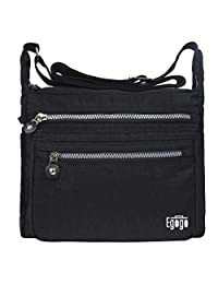 EGOGO Casual Handbag Messenger Cross Body Bag Shoulder Bag with Zipper Pockets E303-5 (Black)
