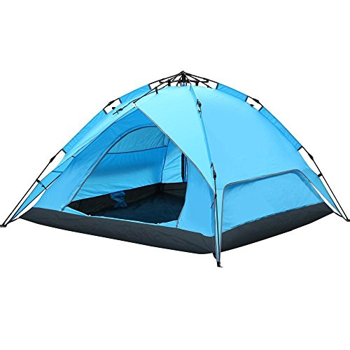 Topeakmart Outdoor Automatic 3-4 Person Waterproof Double Layer Instant Family Camping Tent Blue tp Tent