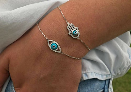 - Kyperco Sterling Silver Dual Customized Pendents Handmade Bracelet Dainty Hamsa And Evil Eye With Crystal Accents For Women