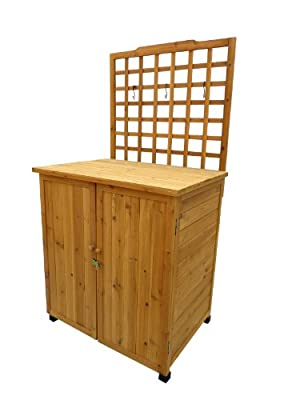 Leisure Season Potting Table with Storage, Solid Wood, Decay Resistant