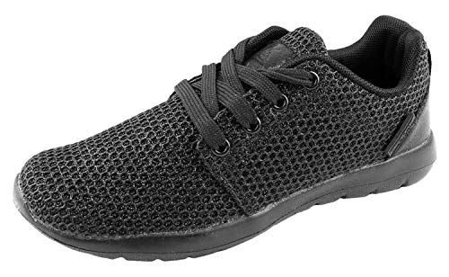 YILAN Women's Fashion Sneakers Breathable Sport Shoe Black Sparkle 8 M US