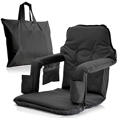 Extra Wide Foldable Stadium Chair for Bleachers - New & Improved 2019 Patent Pending Deluxe Model + Free Carry Bag– Water Resistant + Thick Padding +2 Drink Holders +Zipped Pocket (Black, X-Large) ()