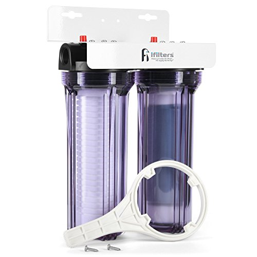 iFilters Whole House 2 Stage Sediment, Rust & CTO Filters w/ AP110 & AP117 Comparable Cartridges Included, 3/4